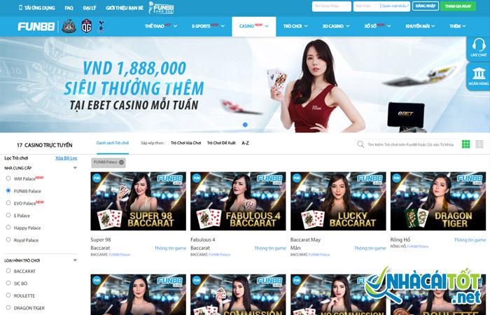 Nhà cái FB88 xây dựng 6 sảnh Casino live chủ lực cho người chơi