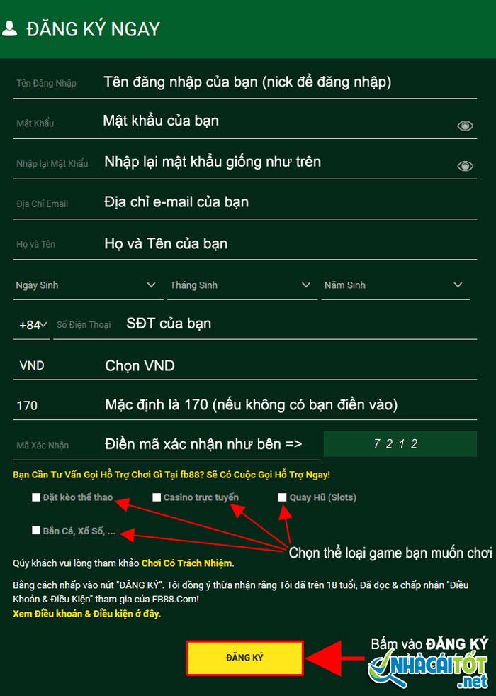 Điền đầy đủ thông tin theo mẫu để đăng ký fb88