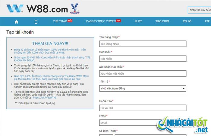 Điền đầy đủ thông tin để đăng ký W88